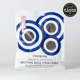 Clearspring Organic Japanese Brown Rice Crackers - Black Sesame 12 x40g