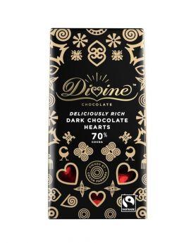 Divine Fair Trade Dark Chocolate Hearts (1x125g)