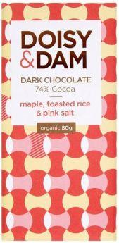 Doisy & Dam Organic Maple, Toasted Rice and Pink Salt 74% Dark Chocolate 25g x30