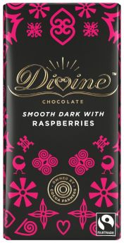 Divine Fair Trade Dark Raspberries Chocolate 100g x15