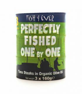 Fish 4 Ever Skipjack Tuna Steaks in Organic Olive Oil 160g x12