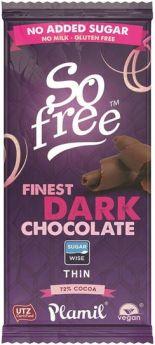 Plamil So Free  Cool Mint Dark (No Added Sugar) Thin Chocolate 80g x12