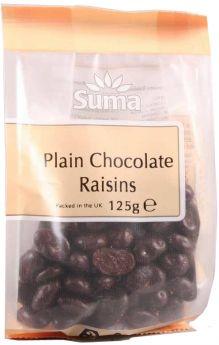 Suma Plain Chocolate Coated Raisins (6x125g)