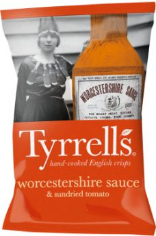 Tyrrells Worcestershire Sauce and Sundried Tomato Hand-Cooked English Potato Crisps 40g x24