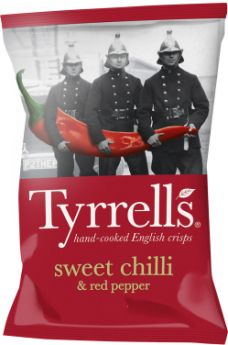 Tyrrells Sweet Chilli and Red Pepper Hand-Cooked English Potato Crisps 40g x24