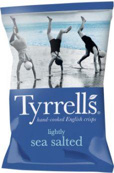 Tyrrells Lightly Sea Salted Hand-Cooked English Potato Crisps 40g x24