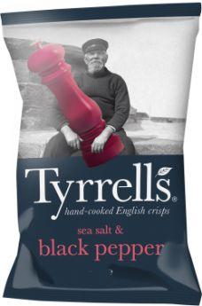 Tyrrells Sea Salt and Black Pepper Hand-Cooked English Potato Crisps 40g x24
