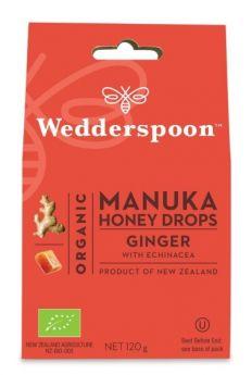 Wedderspoon Natural Manuka Honey Drops Ginger (20 drops per box) 120g x12