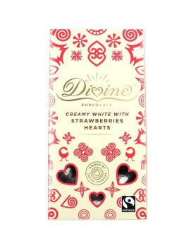 Divine Fair Trade White Chocolate Strawberry Hearts (1x125g)